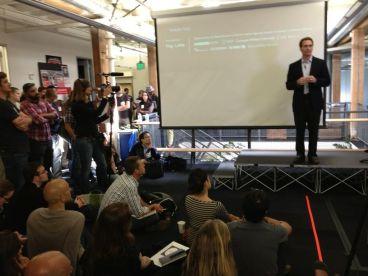 Dov Seidman giving the keynote speech at the Reinvent Business hackathon